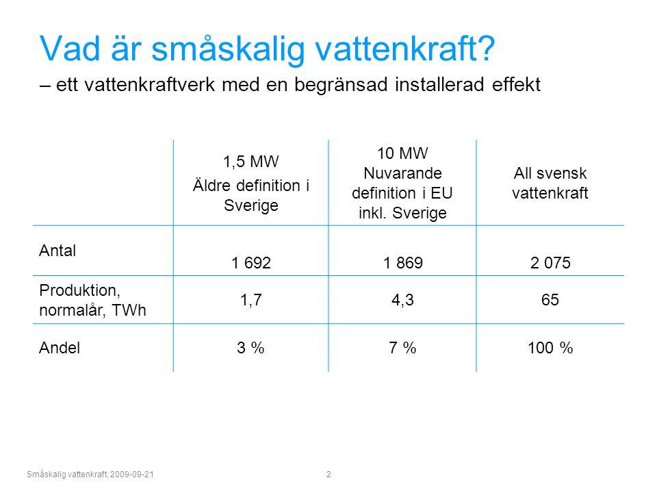 Småskalig vattenkraft. 2009-09-21 2 Vad är småskalig vattenkraft? – ett vattenkraftverk med en begränsad installerad effekt 1,5 MW Äldre definition i