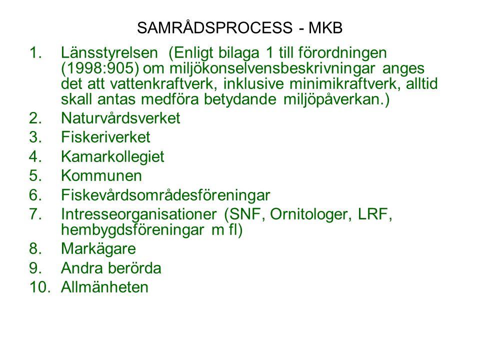 SAMRÅDSPROCESS - MKB 1.Länsstyrelsen (Enligt bilaga 1 till förordningen (1998:905) om miljökonselvensbeskrivningar anges det att vattenkraftverk, inkl