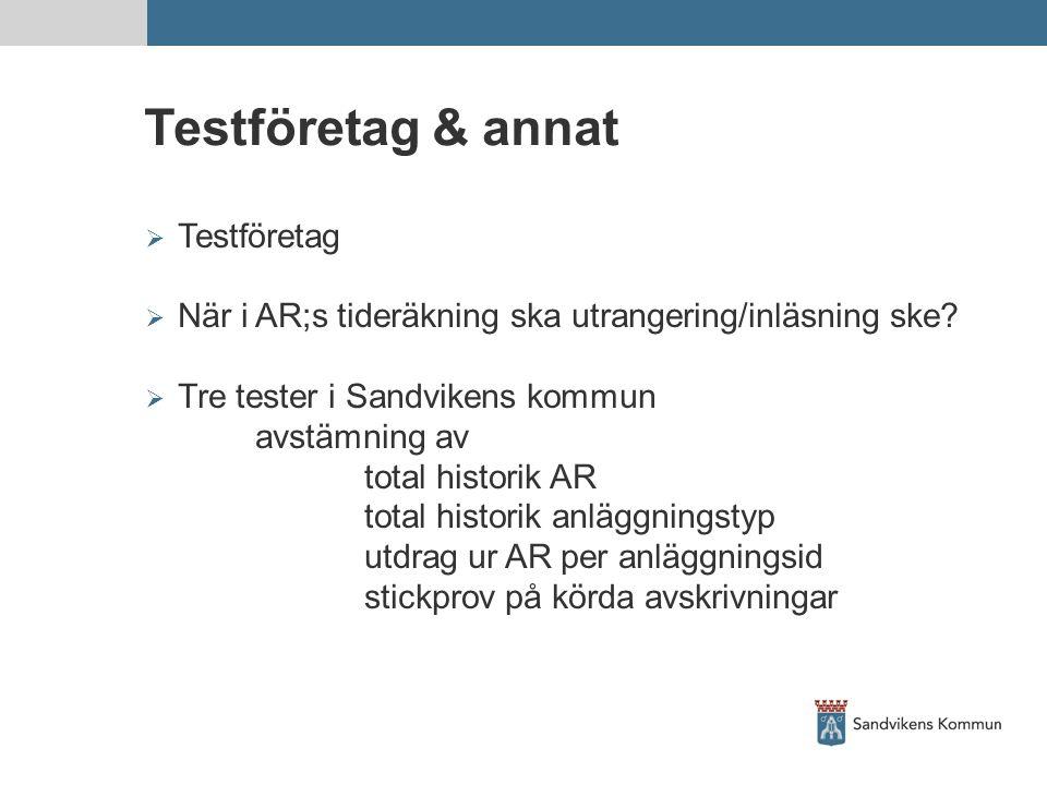 Testföretag & annat  Testföretag  När i AR;s tideräkning ska utrangering/inläsning ske?  Tre tester i Sandvikens kommun avstämning av total histori