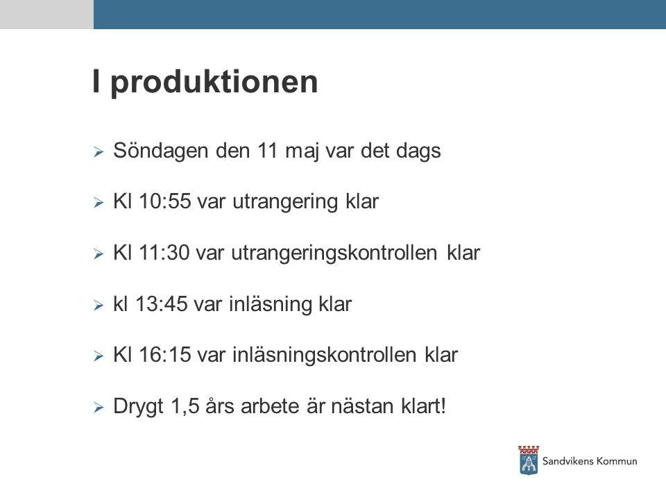 I produktionen  Söndagen den 11 maj var det dags  Kl 10:55 var utrangering klar  Kl 11:30 var utrangeringskontrollen klar  kl 13:45 var inläsning