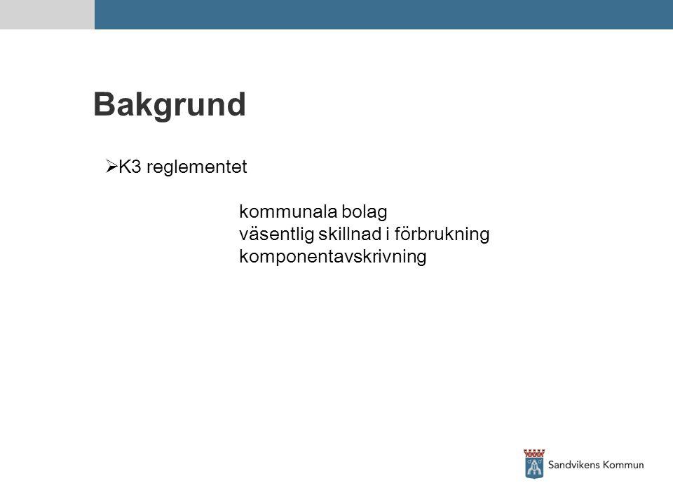 Bakgrund  K3 reglementet kommunala bolag väsentlig skillnad i förbrukning komponentavskrivning