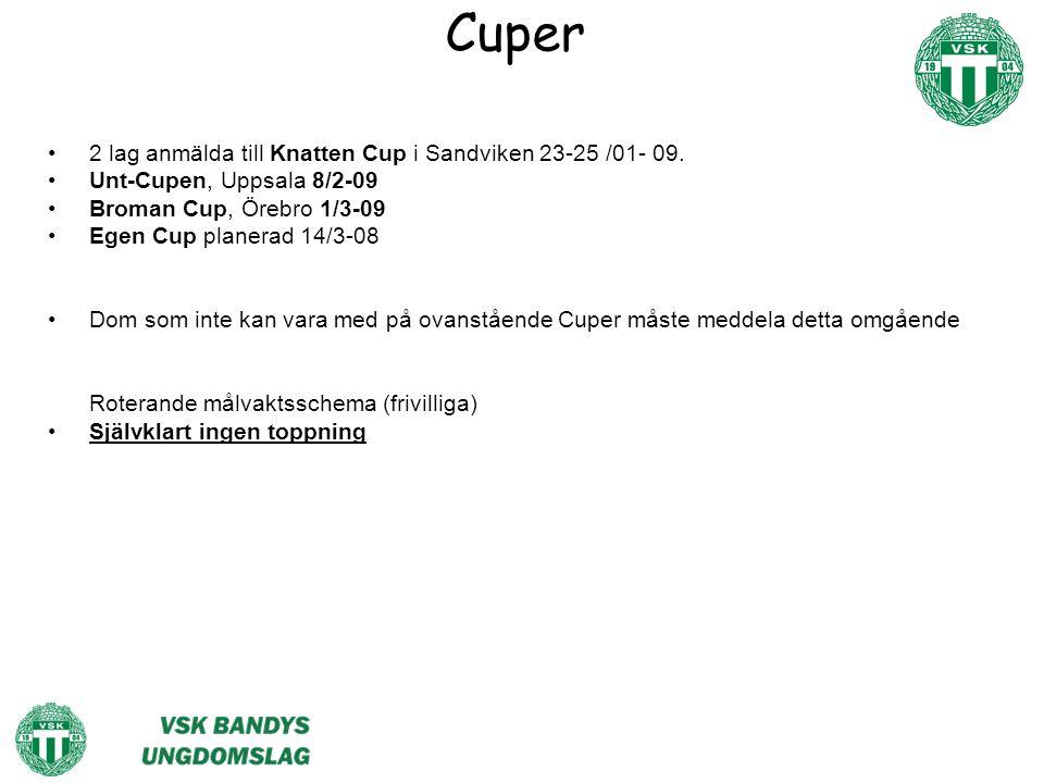 Cuper 2 lag anmälda till Knatten Cup i Sandviken 23-25 /01- 09.