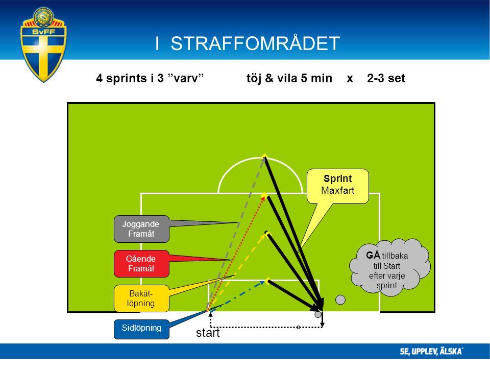 """I STRAFFOMRÅDET Sidlöpning GÅ tillbaka till Start efter varje sprint Sprint Maxfart Bakåt- löpning Gående Framåt Joggande Framåt 4 sprints i 3 """"varv"""""""
