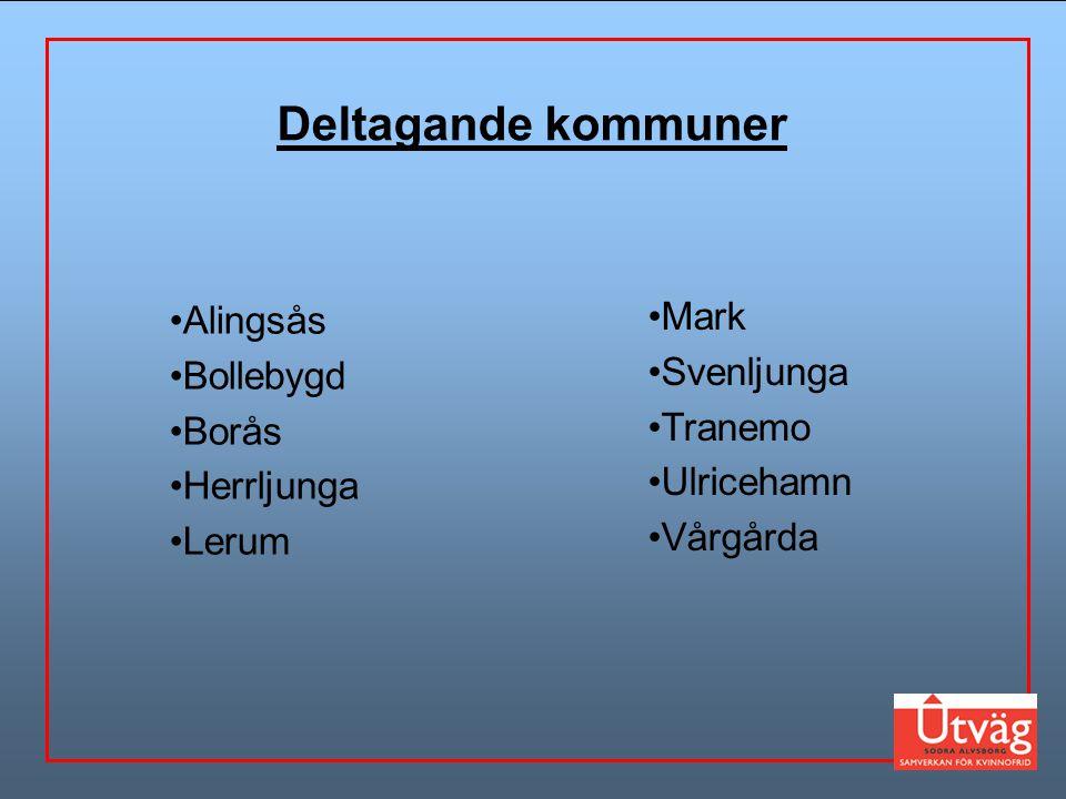 Mark Svenljunga Tranemo Ulricehamn Vårgårda Alingsås Bollebygd Borås Herrljunga Lerum Deltagande kommuner