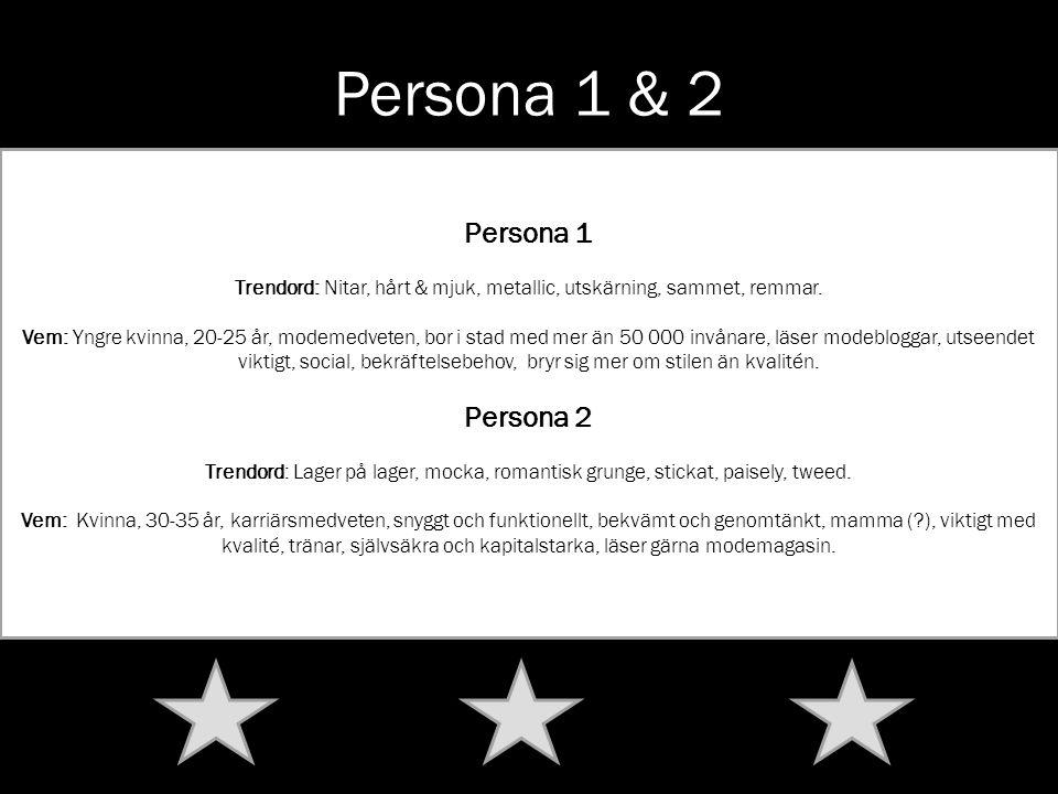 Persona 1 & 2 Persona 1 Trendord: Nitar, hårt & mjuk, metallic, utskärning, sammet, remmar. Vem: Yngre kvinna, 20-25 år, modemedveten, bor i stad med