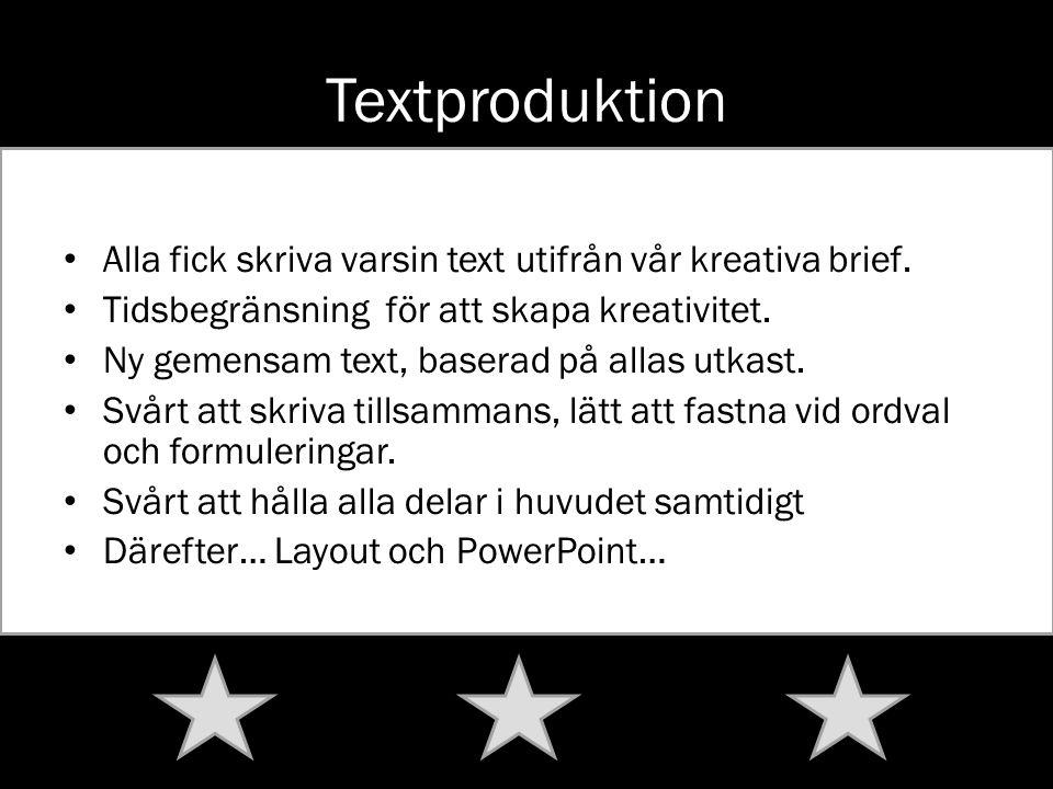 Textproduktion Alla fick skriva varsin text utifrån vår kreativa brief. Tidsbegränsning för att skapa kreativitet. Ny gemensam text, baserad på allas