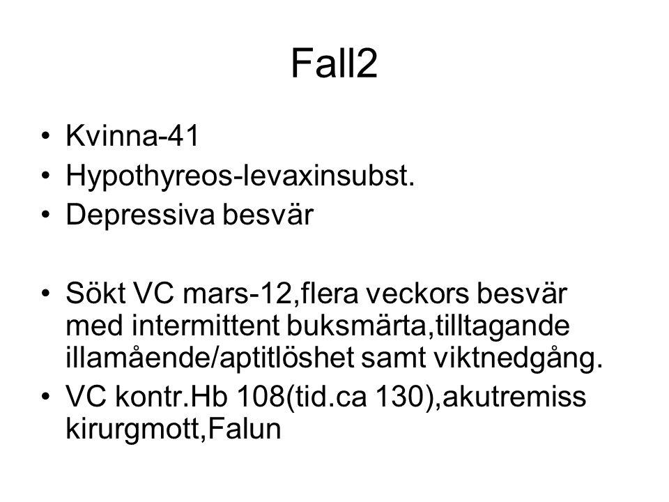 Fall2 Kvinna-41 Hypothyreos-levaxinsubst. Depressiva besvär Sökt VC mars-12,flera veckors besvär med intermittent buksmärta,tilltagande illamående/apt