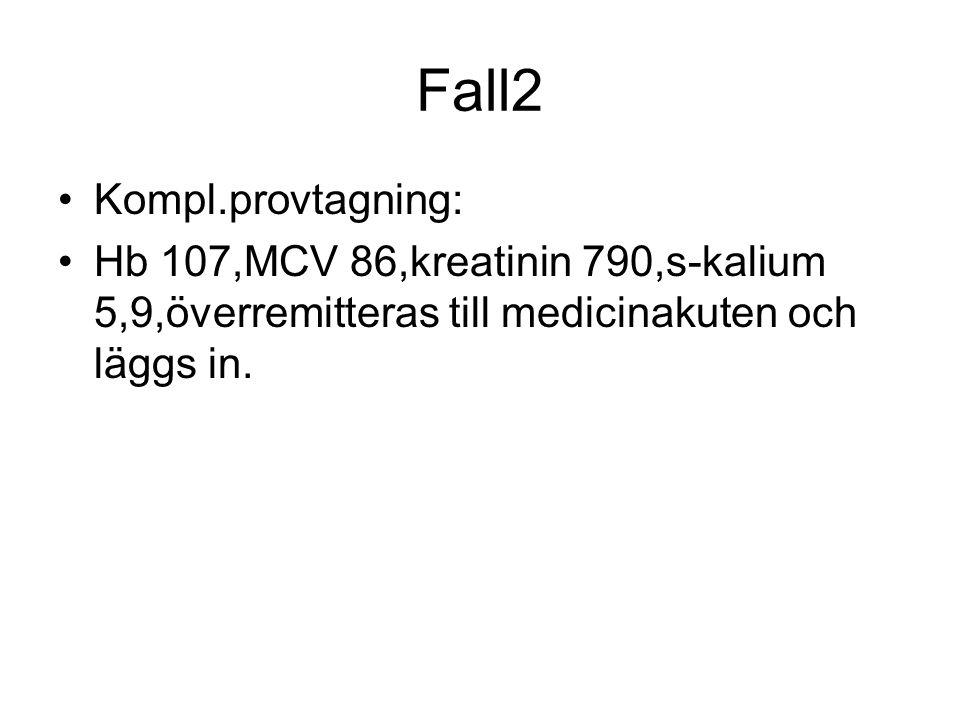 Fall2 Kompl.provtagning: Hb 107,MCV 86,kreatinin 790,s-kalium 5,9,överremitteras till medicinakuten och läggs in.