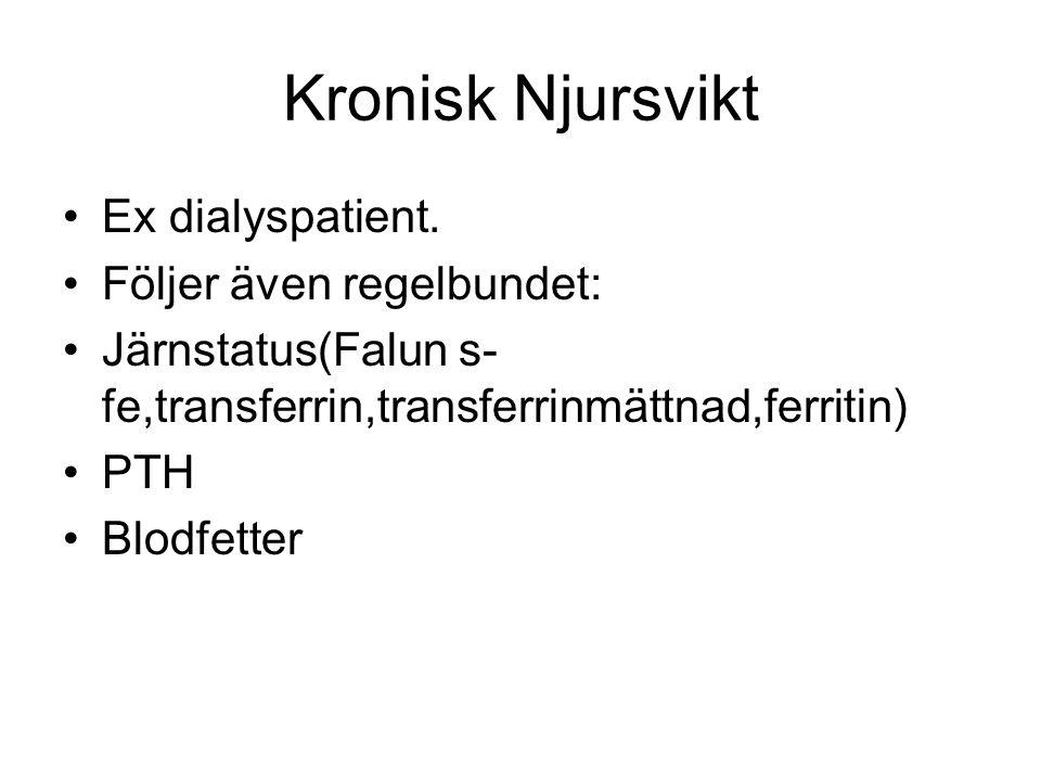 Kronisk Njursvikt Ex dialyspatient. Följer även regelbundet: Järnstatus(Falun s- fe,transferrin,transferrinmättnad,ferritin) PTH Blodfetter
