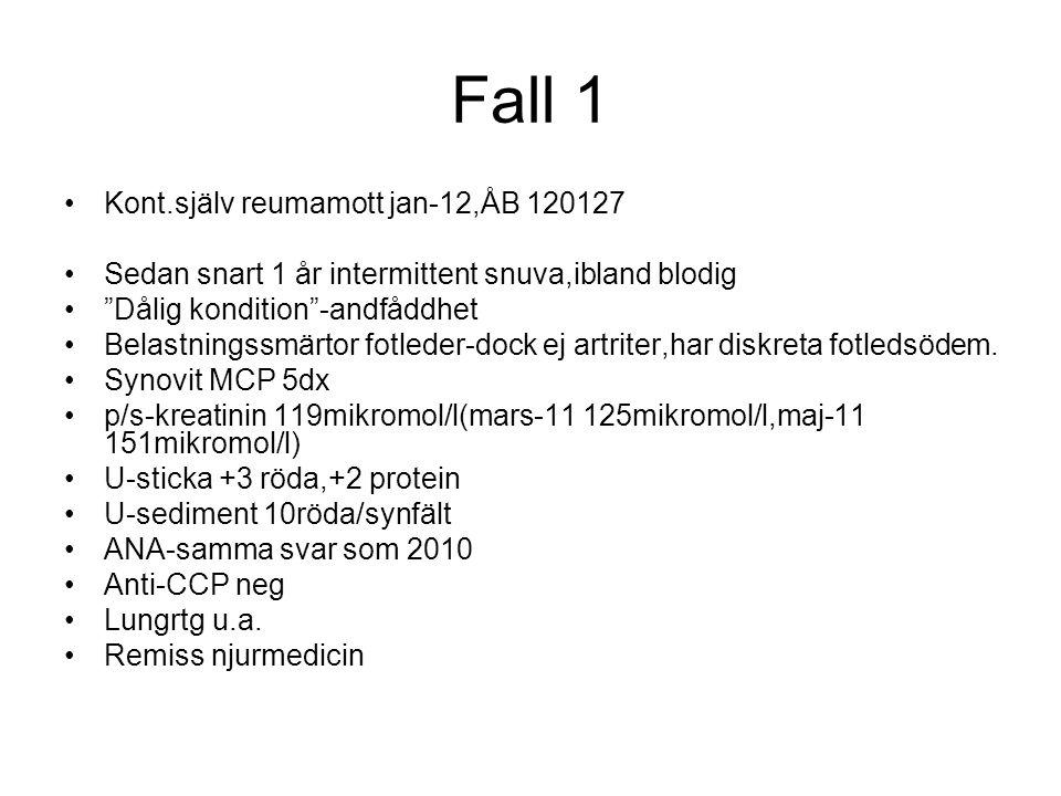Fall 1 Njurmott 120228 p/s-kreatinin 192mikromol/l Crp 24 Hb 120,LPK inkl.diff normal liksom TPK Na,k,s-ca korr,fosfat normala P-elfores-talar för inflammatorisk process i kron.fas(polyklonal IgA stegring,orosmukoid förhöjt,först.fibrinogenband) U-elfores glom.+tub.proteinuri INGA M-komp