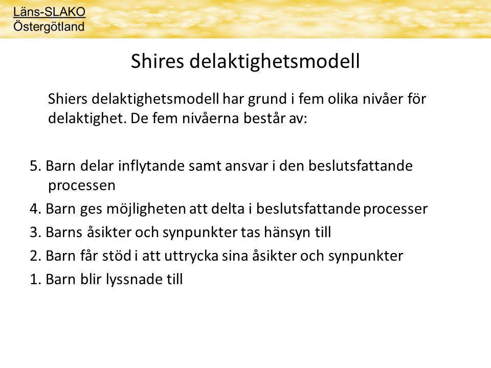 Shires delaktighetsmodell Shiers delaktighetsmodell har grund i fem olika nivåer för delaktighet.