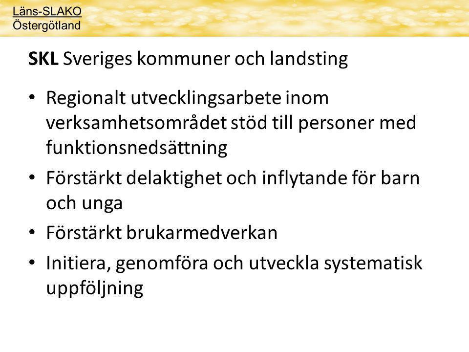 SKL Sveriges kommuner och landsting Regionalt utvecklingsarbete inom verksamhetsområdet stöd till personer med funktionsnedsättning Förstärkt delaktighet och inflytande för barn och unga Förstärkt brukarmedverkan Initiera, genomföra och utveckla systematisk uppföljning