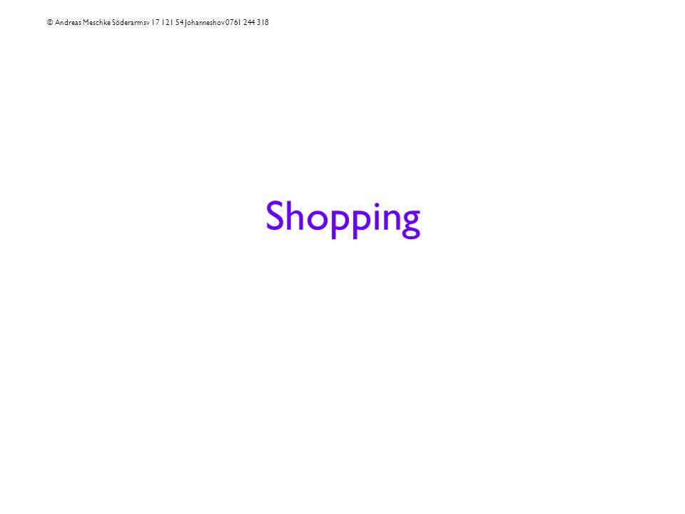 Shopping © Andreas Meschke Söderarmsv 17 121 54 Johanneshov 0761 244 318