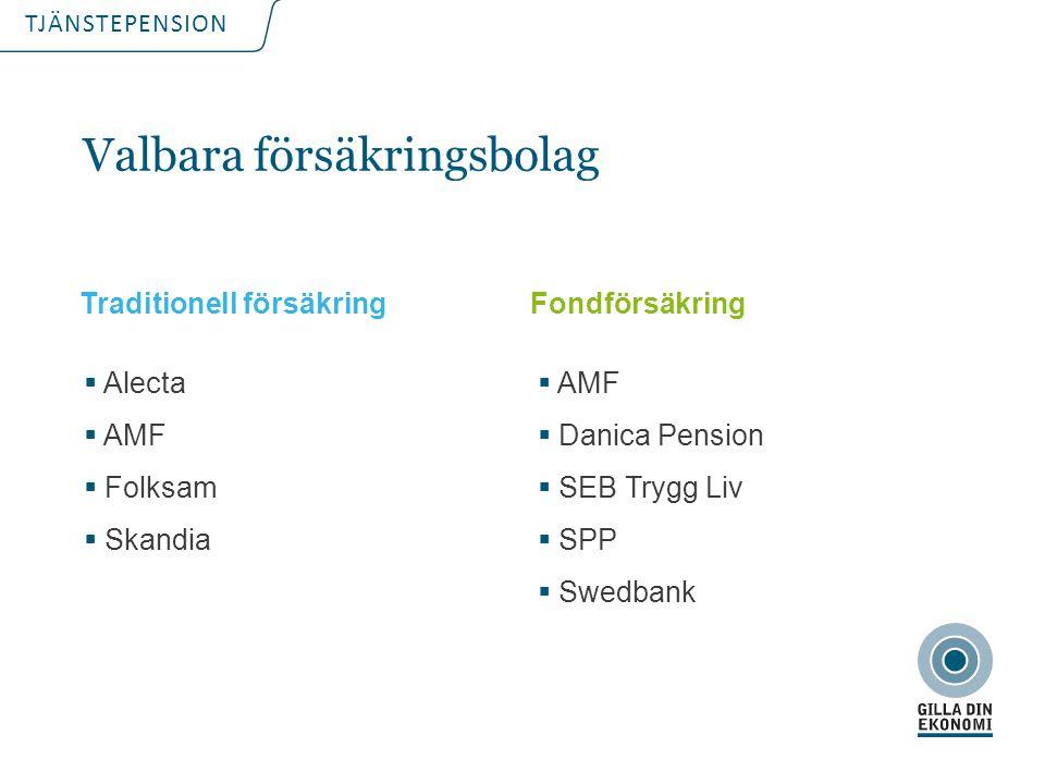 TJÄNSTEPENSION Valbara försäkringsbolag  Alecta  AMF  Folksam  Skandia Traditionell försäkringFondförsäkring  AMF  Danica Pension  SEB Trygg Li