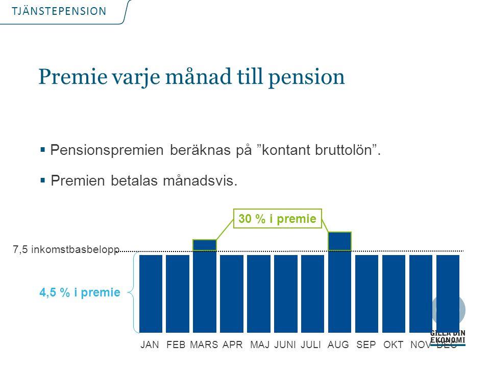 """TJÄNSTEPENSION Premie varje månad till pension  Pensionspremien beräknas på """"kontant bruttolön"""".  Premien betalas månadsvis. 7,5 inkomstbasbelopp 30"""
