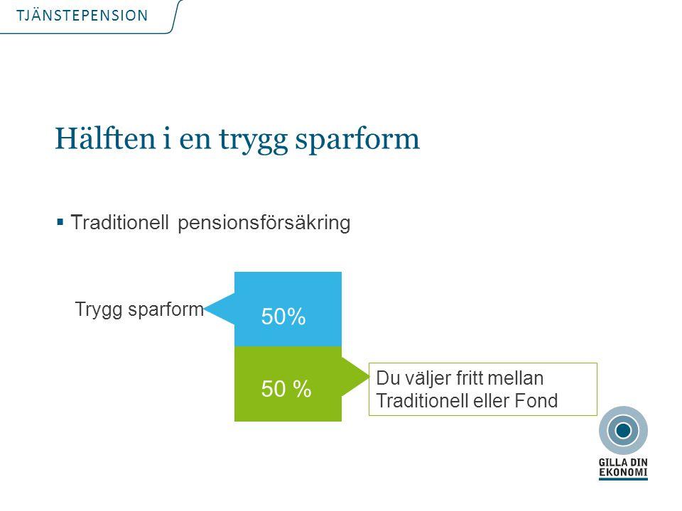 TJÄNSTEPENSION Hälften i en trygg sparform  Traditionell pensionsförsäkring Trygg sparform 50% Du väljer fritt mellan Traditionell eller Fond