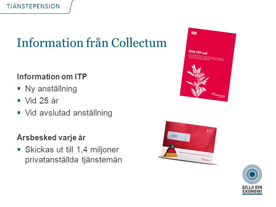 TJÄNSTEPENSION Information från Collectum Information om ITP  Ny anställning  Vid 25 år  Vid avslutad anställning Årsbesked varje år  Skickas ut t