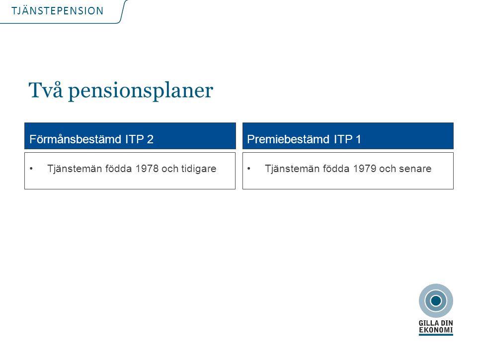 TJÄNSTEPENSION ITP 1 ITP 2 Premien  Arbetsgivaren vet sin pensionskostnad  Den anställde vet inte vad pensionen kommer att bli Förmånen Arbetsgivaren vet inte kostnaden Den anställde vet sin kommande pension Vad är det som är bestämt på förhand?
