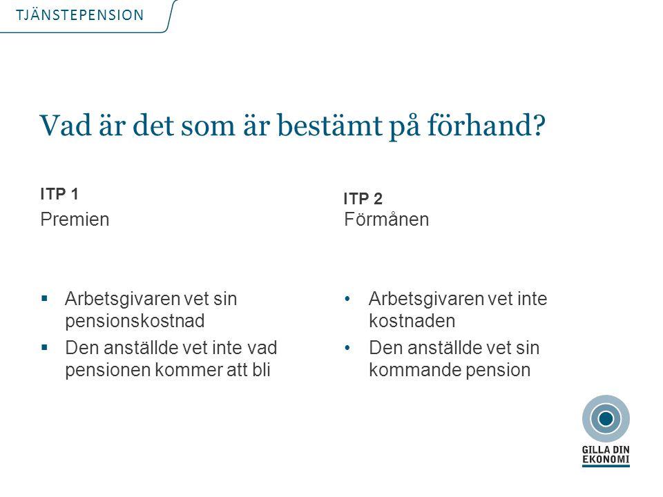 TJÄNSTEPENSION  Förmånsbestämd Ålderspension Ålderspensionen = % x lönen x tjänstetid  Premiebestämd ITP 2% av pensionsmedförande lön ITP2 – Två ålderspensioner!
