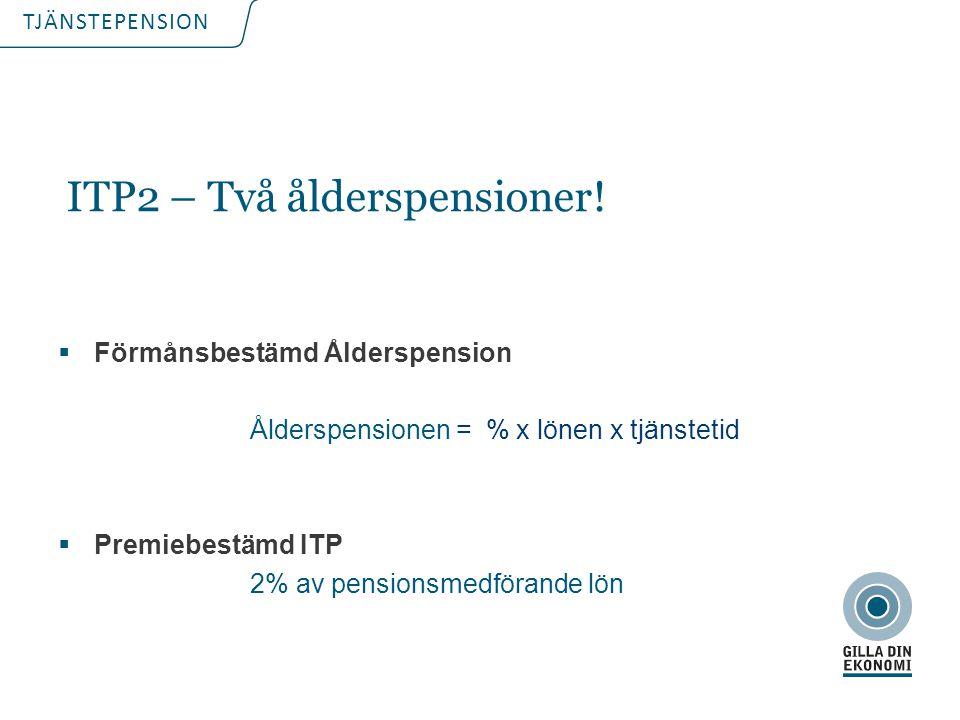 TJÄNSTEPENSION  Förmånsbestämd Ålderspension Ålderspensionen = % x lönen x tjänstetid  Premiebestämd ITP 2% av pensionsmedförande lön ITP2 – Två åld