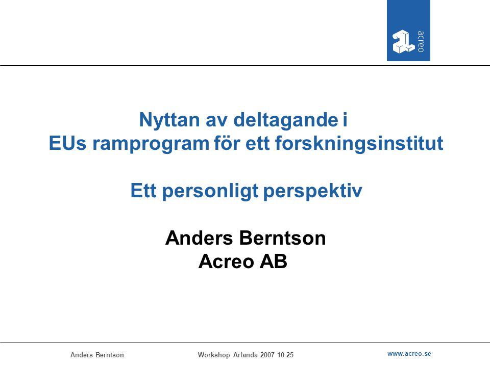 Anders Berntson www.acreo.se Workshop Arlanda 2007 10 25 Nyttan av deltagande i EUs ramprogram för ett forskningsinstitut Ett personligt perspektiv An