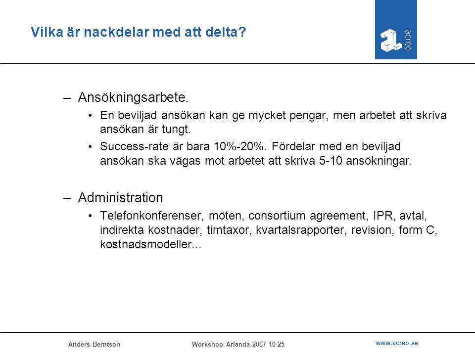 Anders Berntson www.acreo.se Workshop Arlanda 2007 10 25 Vilka är nackdelar med att delta? –Ansökningsarbete. En beviljad ansökan kan ge mycket pengar