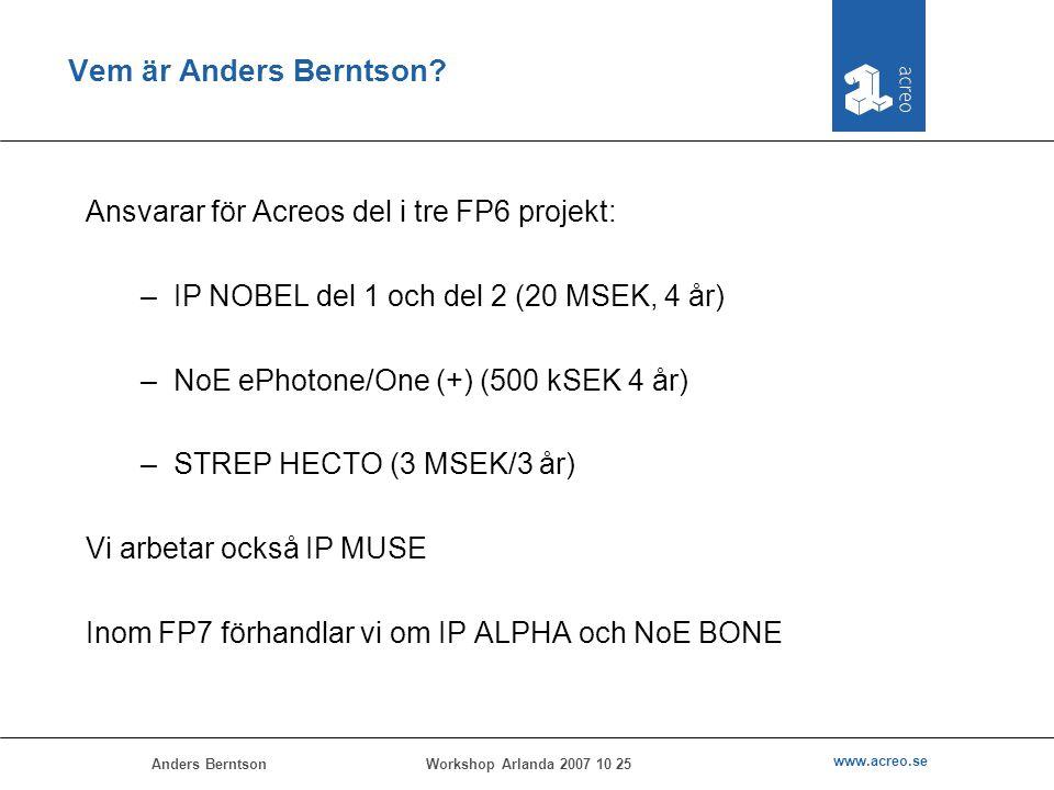 Anders Berntson www.acreo.se Workshop Arlanda 2007 10 25 Vem är Anders Berntson? Ansvarar för Acreos del i tre FP6 projekt: –IP NOBEL del 1 och del 2