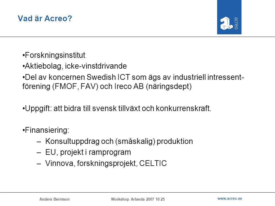 Anders Berntson www.acreo.se Workshop Arlanda 2007 10 25 Vad är Acreo? Forskningsinstitut Aktiebolag, icke-vinstdrivande Del av koncernen Swedish ICT