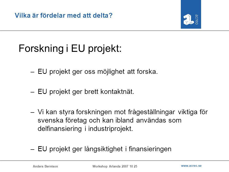 Anders Berntson www.acreo.se Workshop Arlanda 2007 10 25 Vilka är fördelar med att delta? Forskning i EU projekt: –EU projekt ger oss möjlighet att fo