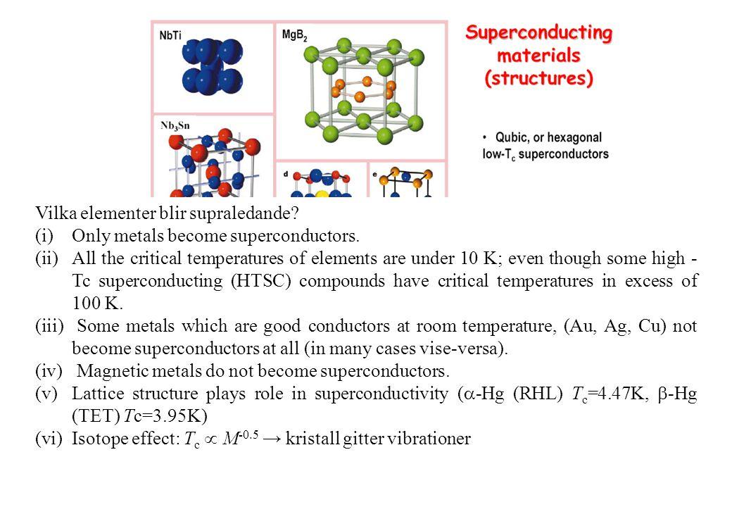 Vilka elementer blir supraledande. (i)Only metals become superconductors.