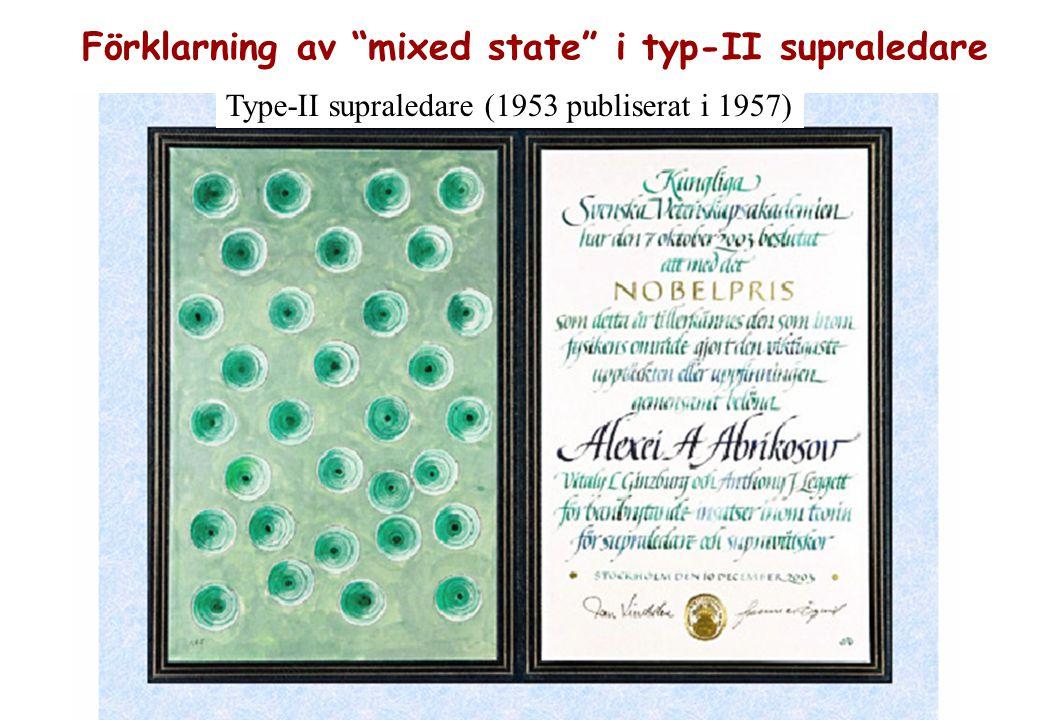 Type-II supraledare (1953 publiserat i 1957) Förklarning av mixed state i typ-II supraledare