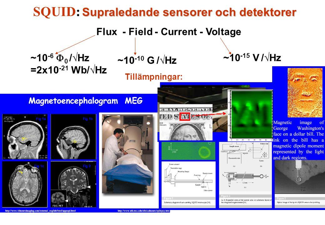 Supraledande sensorer och detektorer SQUID: Supraledande sensorer och detektorer Flux - Field - Current - Voltage ~10 -6  0 /√Hz =2x10 -21 Wb/√Hz ~10 -10 G /√Hz ~10 -15 V /√Hz Tillämpningar: