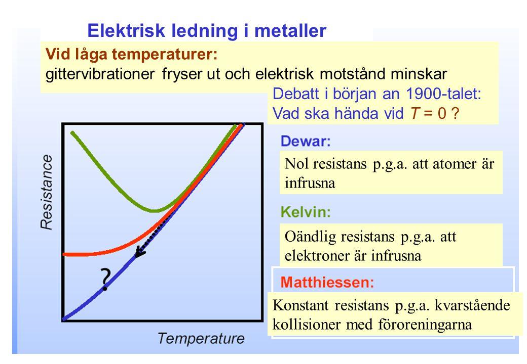 Elektrisk ledning i metaller Vid låga temperaturer: gittervibrationer fryser ut och elektrisk motstånd minskar Debatt i början an 1900-talet: Vad ska hända vid T = 0 .