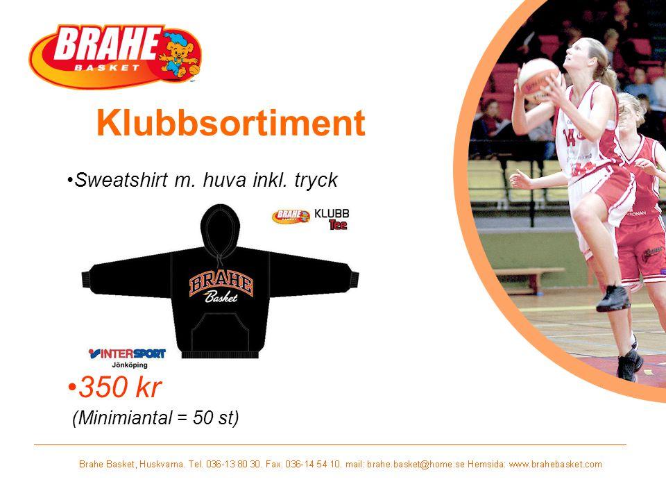 Klubbsortiment Sweatshirt m. huva inkl. tryck 350 kr (Minimiantal = 50 st)