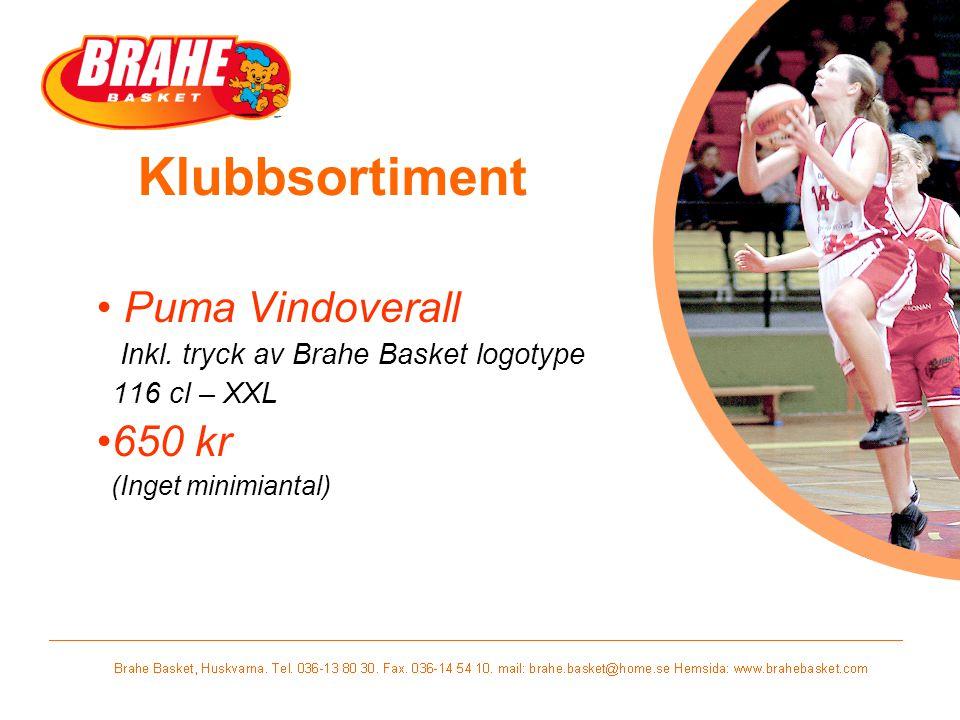 Klubbsortiment Puma Vindoverall Inkl. tryck av Brahe Basket logotype 116 cl – XXL 650 kr (Inget minimiantal)