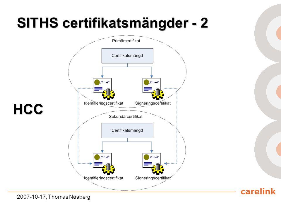 carelink 2007-10-17, Thomas Näsberg SITHS certifikatsmängder - 2 HCC