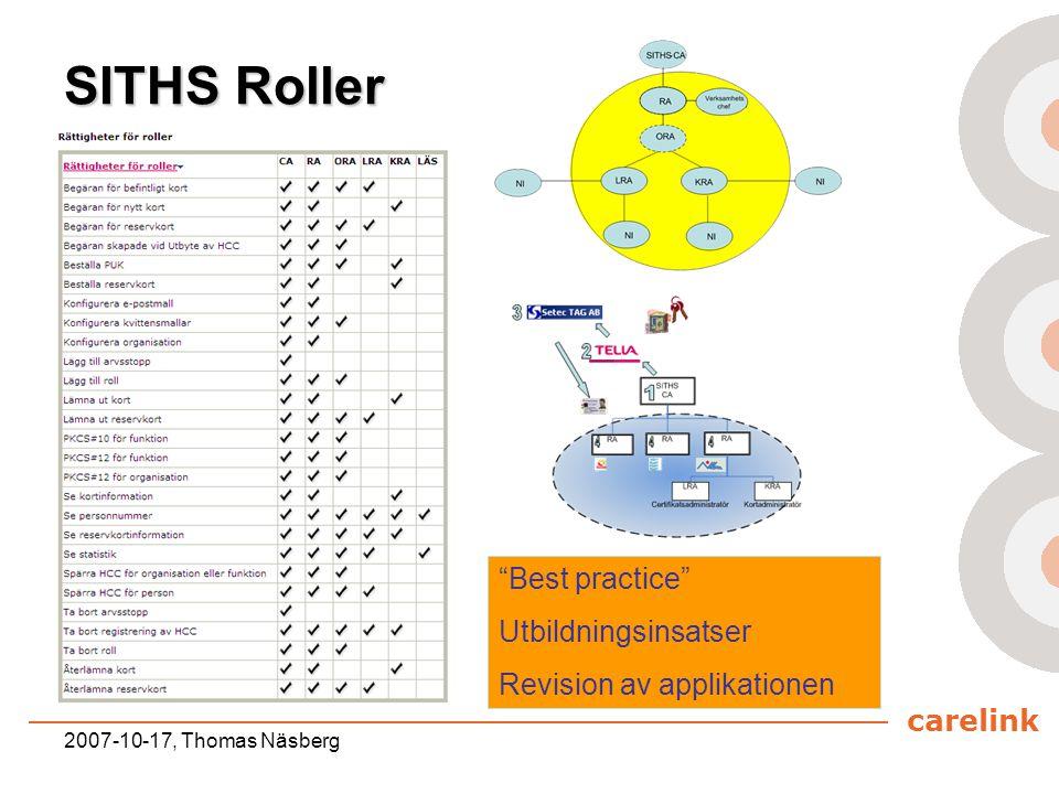 """carelink 2007-10-17, Thomas Näsberg SITHS Roller """"Best practice"""" Utbildningsinsatser Revision av applikationen"""