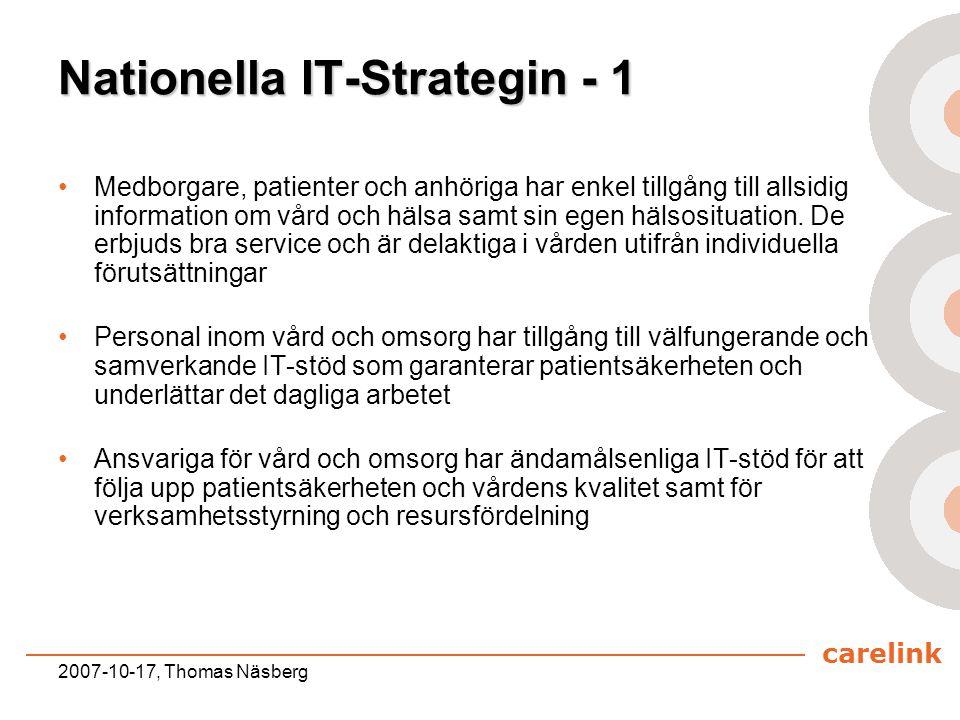 carelink 2007-10-17, Thomas Näsberg Medborgare, patienter och anhöriga har enkel tillgång till allsidig information om vård och hälsa samt sin egen hä