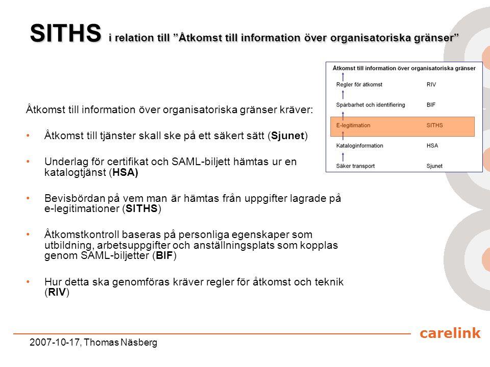 """carelink 2007-10-17, Thomas Näsberg SITHS i relation till """"Åtkomst till information över organisatoriska gränser"""" Åtkomst till information över organi"""