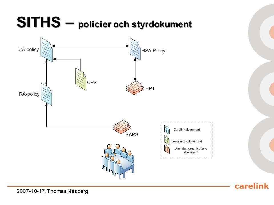 carelink 2007-10-17, Thomas Näsberg SITHS – policier och styrdokument