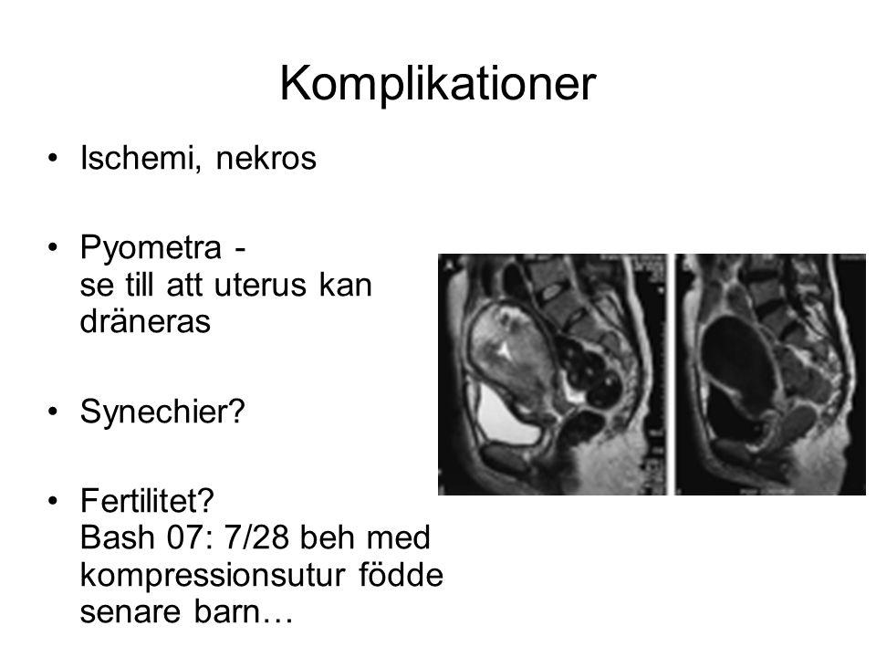 Komplikationer Ischemi, nekros Pyometra - se till att uterus kan dräneras Synechier? Fertilitet? Bash 07: 7/28 beh med kompressionsutur födde senare b