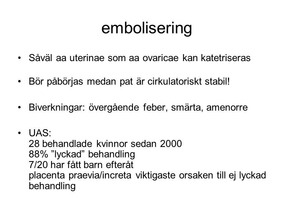 embolisering Såväl aa uterinae som aa ovaricae kan katetriseras Bör påbörjas medan pat är cirkulatoriskt stabil! Biverkningar: övergående feber, smärt