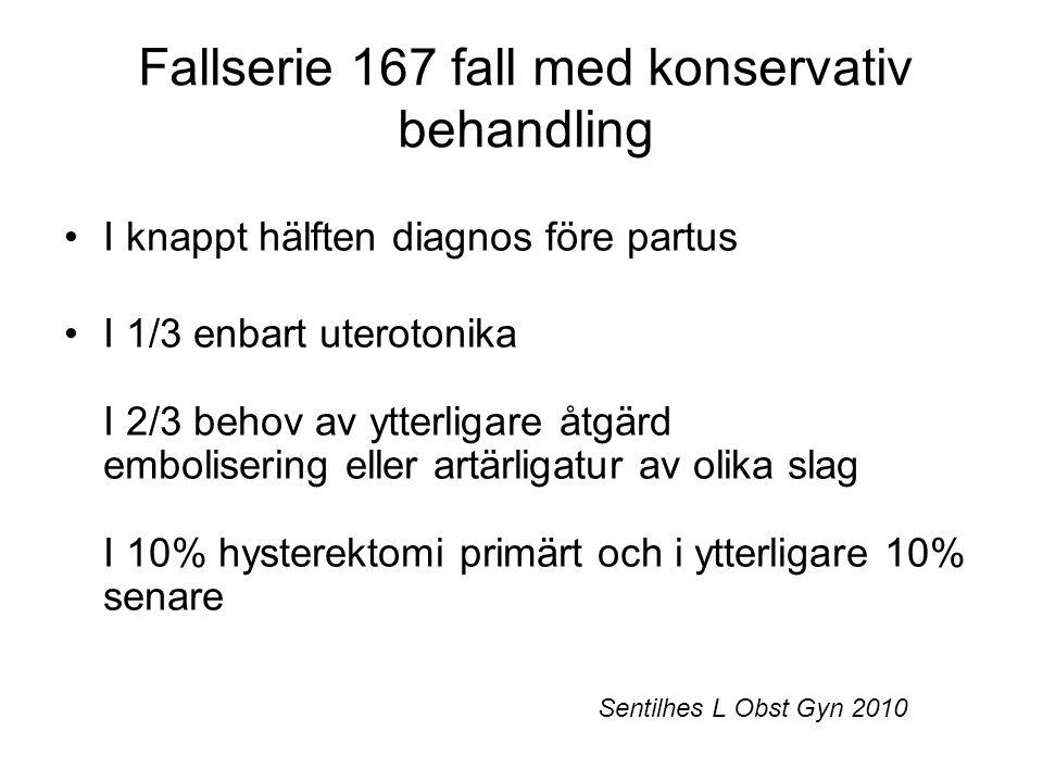 Fallserie 167 fall med konservativ behandling I knappt hälften diagnos före partus I 1/3 enbart uterotonika I 2/3 behov av ytterligare åtgärd embolise