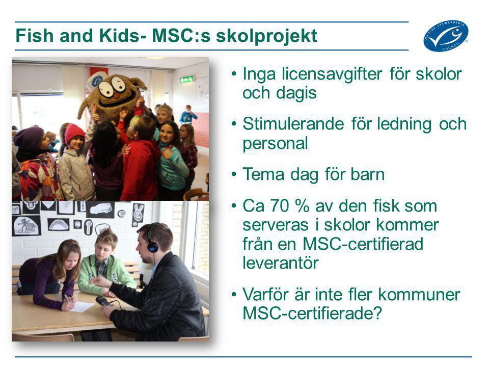 Inga licensavgifter för skolor och dagis Stimulerande för ledning och personal Tema dag för barn Ca 70 % av den fisk som serveras i skolor kommer från