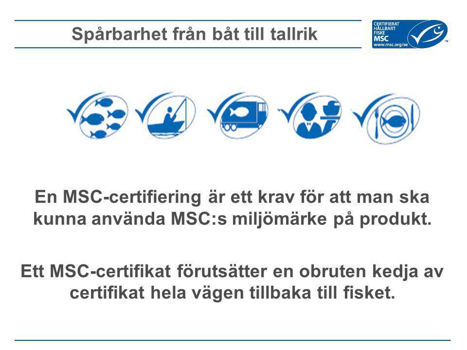 En MSC-certifiering är ett krav för att man ska kunna använda MSC:s miljömärke på produkt. Ett MSC-certifikat förutsätter en obruten kedja av certifik