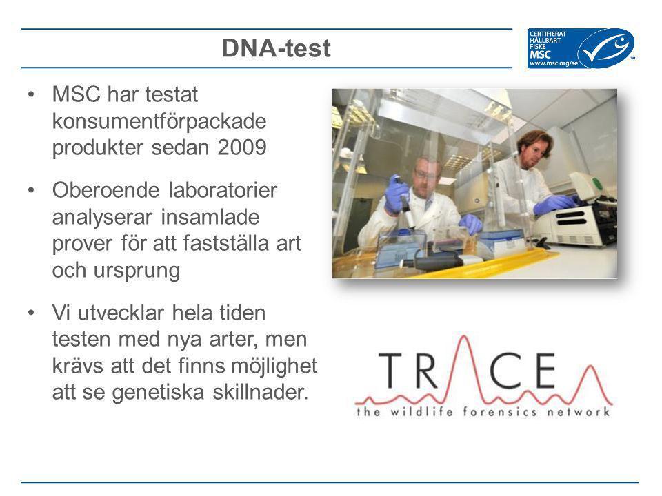 DNA-test MSC har testat konsumentförpackade produkter sedan 2009 Oberoende laboratorier analyserar insamlade prover för att fastställa art och ursprung Vi utvecklar hela tiden testen med nya arter, men krävs att det finns möjlighet att se genetiska skillnader.