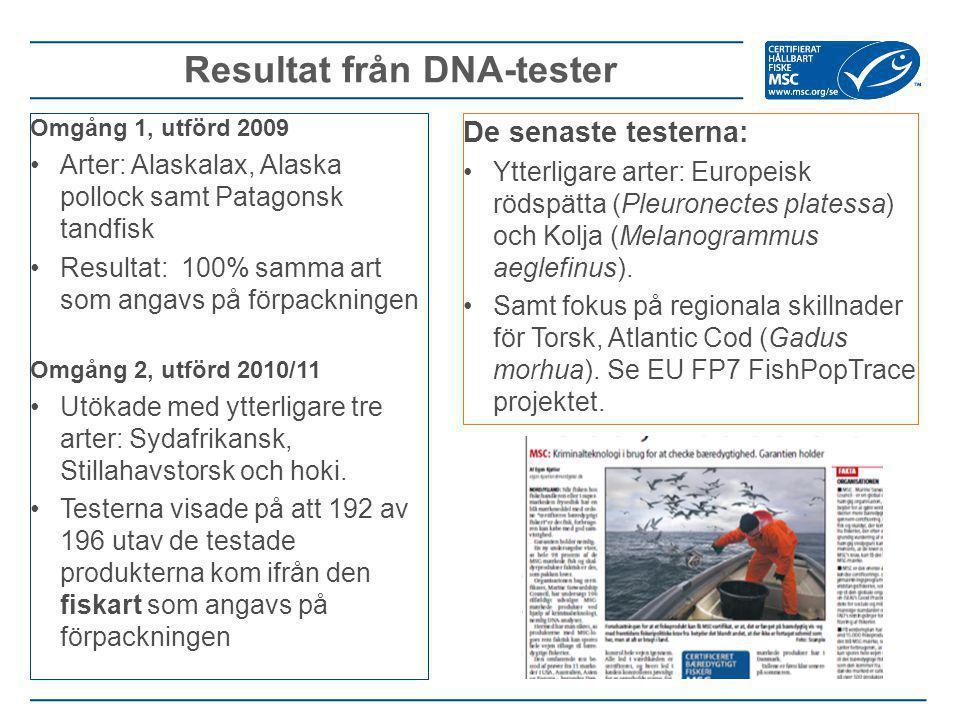 Omgång 1, utförd 2009 Arter: Alaskalax, Alaska pollock samt Patagonsk tandfisk Resultat: 100% samma art som angavs på förpackningen Omgång 2, utförd 2