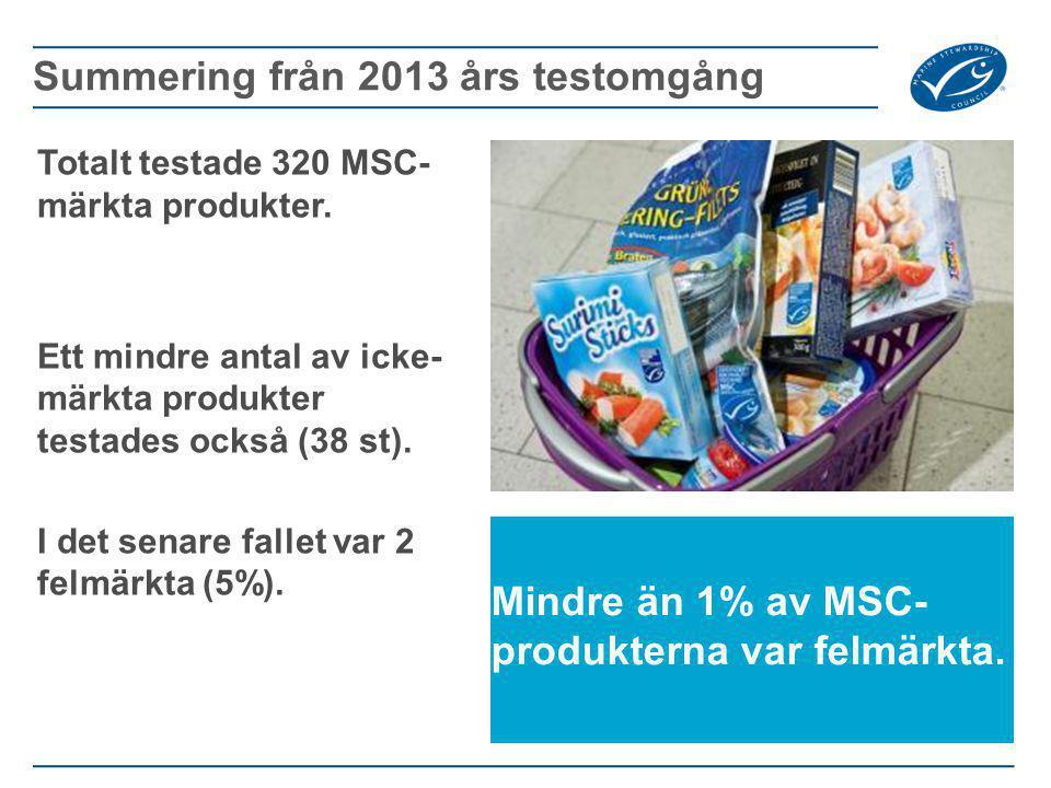 Totalt testade 320 MSC- märkta produkter. Ett mindre antal av icke- märkta produkter testades också (38 st). I det senare fallet var 2 felmärkta (5%).