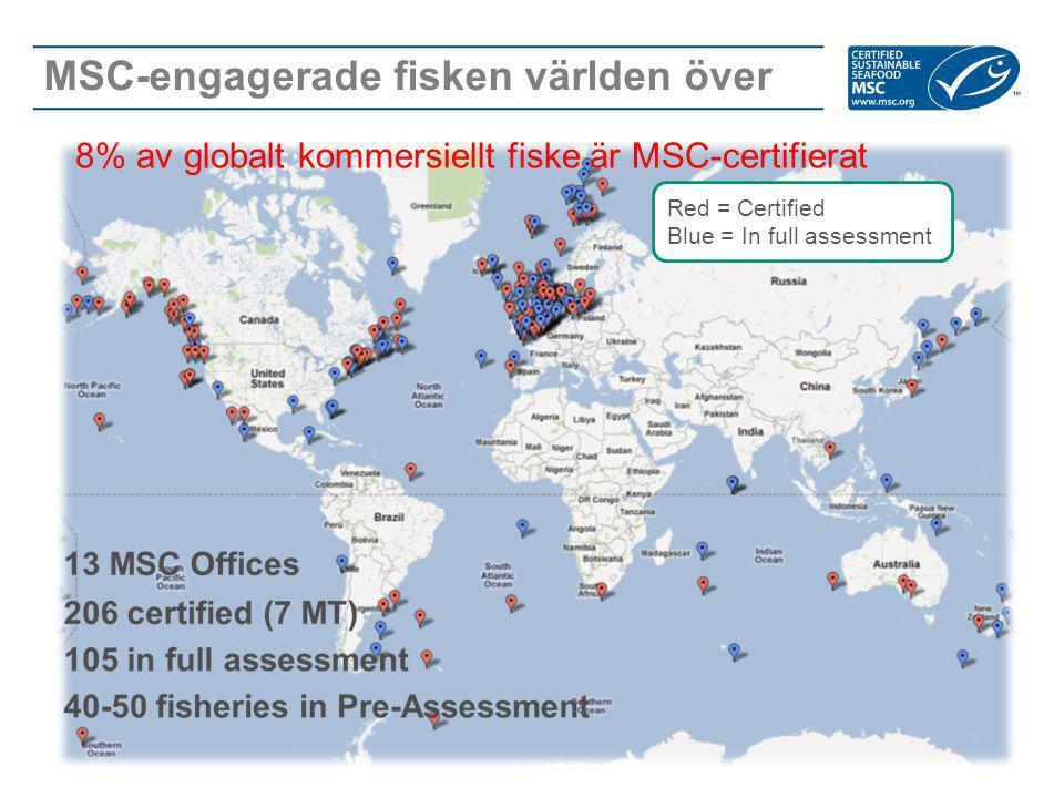 MSC-engagerade fisken världen över Red = Certified Blue = In full assessment 8% av globalt kommersiellt fiske är MSC-certifierat