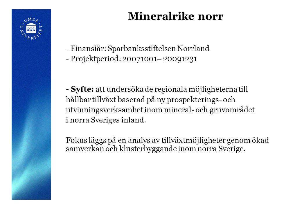 Mineralrike norr - Finansiär: Sparbanksstiftelsen Norrland - Projektperiod: 20071001– 20091231 - Syfte: att undersöka de regionala möjligheterna till hållbar tillväxt baserad på ny prospekterings- och utvinningsverksamhet inom mineral- och gruvområdet i norra Sveriges inland.